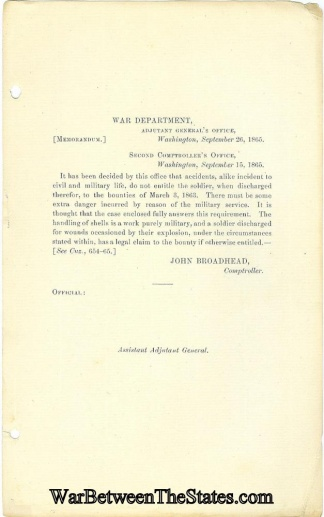 War Department Memorandum Regarding Accidents
