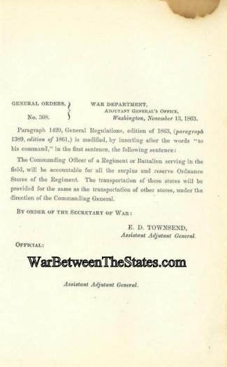 1863 Order Regarding Ordnance Stores (Image1)