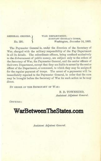 1863 Order Regarding the Paymaster General & Pay Department (Image1)