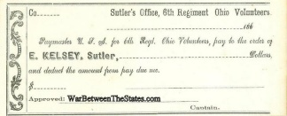 6th Regiment Ohio Volunteers Sutler Check