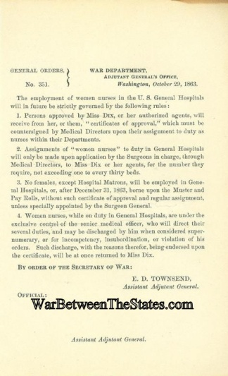 Orders Regarding The Employment Of Women Nurses