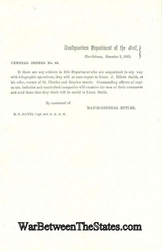 General Butler Sends Out Call For Telegraph Operators (Image1)