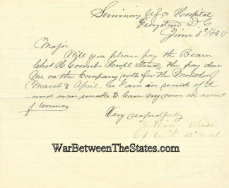 1864 Hospital Letter From Wounded Yankee Captain