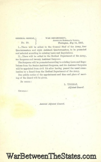 1861 Orders Regarding Adding Officers to the Quartermaster (Image1)