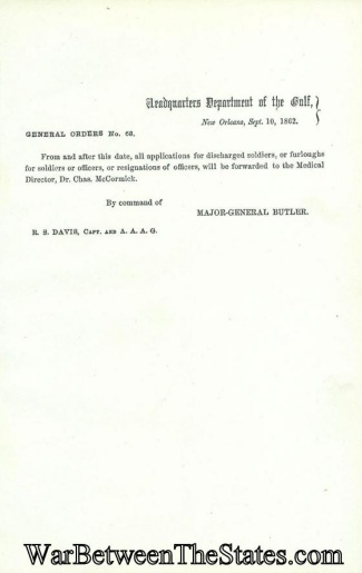 1862 Special Orders From General Butler, Department Of The Gulf