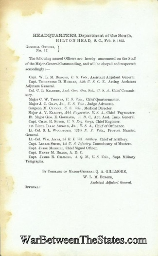 General Quincy A. Gillmore Announces His Staff (Image1)