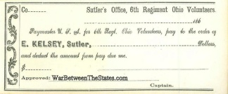6th Regiment Ohio Volunteers Sutler Check (Image1)