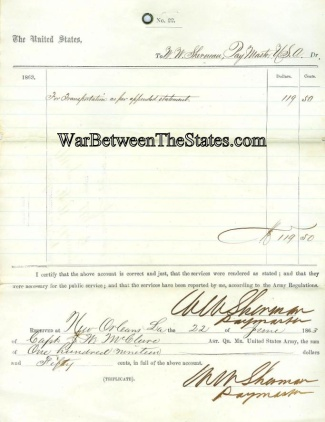 1863 Transportation Payment To U.s. Paymaster In New Orleans, La.