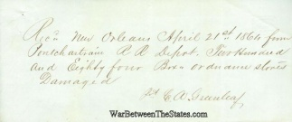 1864 Receipt For Ordnance Stores Received at New Orleans, La. (Image1)