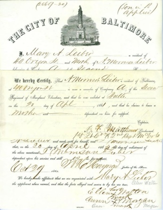 Application for Aid for the Mother of a Maryland Soldier Fighting  (Image1)