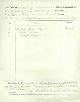 1862 Invoice for Signal Equipment & Stores (Image1)