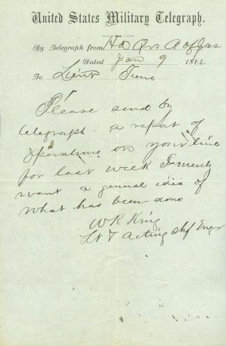 1864 Army of the James, U.S. Military Telegram (Image1)
