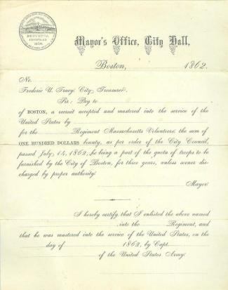 1862 Imprint, Mayor's Office, City of Boston  (Image1)