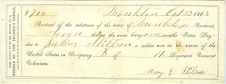 1863 Extra Pay Voucher, 11th Vermont Volunteers (Image1)