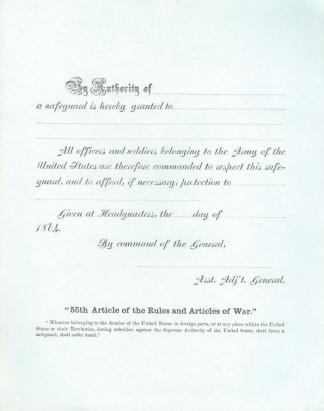 1864 U.S. Army Safeguard Pass (Image1)