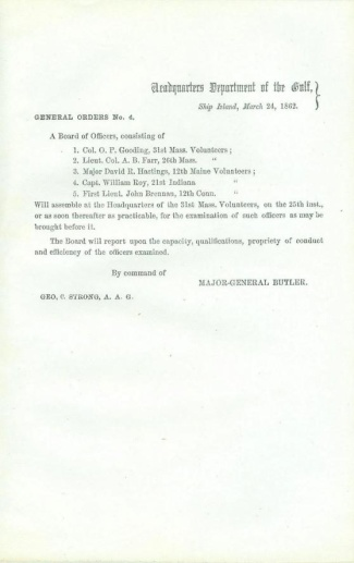 1862 General Ben Butler Order, Ship Island, Department of the Gulf (Image1)