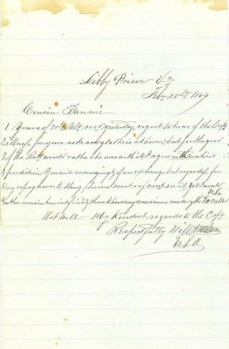 Captured Union Officer Writes From Libby Prison, Richmond, Va.