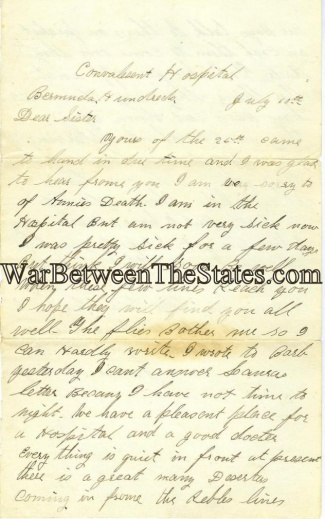 39th Illinois Infantry Letter