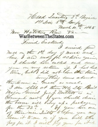 32nd Massachusetts Infantry Letter