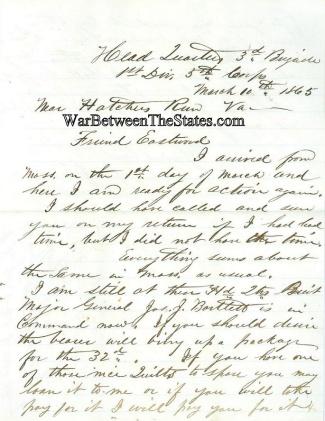 32nd Massachusetts Infantry Letter (Image1)