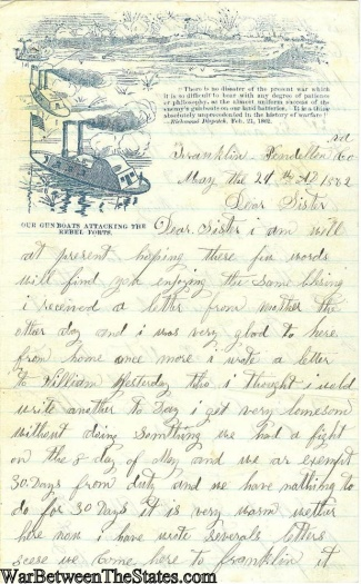 Letter Written By A Soldier In The 32nd Ohio Infantry