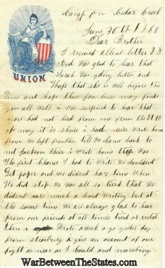 55th Ohio Infantry Letter with Imprinted Regimental Cover (Image1)