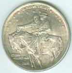 """Uncirculated, U.S. half dollar with vignette of Generals' Robert E. Lee and Stonewall Jackson on horseback on the obverse, with """"In God We Trust"""" at the top, and """"Stone Mountain, 1925"""" at the bottom. Spread winged eagle with motto, """"E. Pluribus Unum,"""" and """"Liberty,"""" and """"Memorial To The Valor Of The Soldier Of The South"""" on the reverse. United States of America rims the coin at the top, and Half Dollar at the bottom.   WBTS Trivia: The models for this coin were prepared by Gutzon Borglum, who would later sculpt Mount Rushmore. The first coins were struck in Philadelphia on January 21, 1925, General Thomas J. """"Stonewall"""" Jackson's birthday. The funds received from the sale of this issue of half dollars were devoted to the expense of carving figures of Confederate leaders on Stone Mountain in Georgia."""