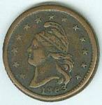Liberty wearing liberty cap on the obverse with stars above and the year 1863 below. New York within wreath with star below on the reverse. Very fine.