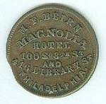 Click to view larger image of Civil War Merchant Token, Magnolia Hotel, Philadelphia (Image2)