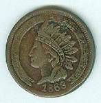 """Indian wearing headdress encircled by stars with the year 1863 on the obverse. """"Not One Cent"""" within wreath on the reverse. Very fine."""