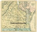 7 1/4 x 6 1/4, imprint, color. Map of Southeastern Part of Virginia With Adjacent Parts of Md. & N.C. This map came out of an 1861 dated pocket atlas that was issued under the auspices of General-in-Chief Winfield Scott, U.S.A., with maps that were carefully prepared from the best available authorities, including the latest Government surveys, with the special purpose to make them convenient and reliable. The atlas was entered according to an Act of Congress, in the year 1861, by Samuel D. Backus, in the Clerk's Office of the District Court of the United States, for the Southern District of New York. Light age toning, edge chipping and wear. Small area of paper loss at upper center. Archival tape repairs at centerfold. I will include a Xerox copy of the original front cover of this pocket atlas which includes an illustration of General Scott. Uncommon.