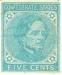 Scott #7. Five cents, blue, Confederate States, with bust of President Jefferson Davis. Printed by Archer & Daly, Richmond, Va. Unused condition.