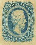Scott #11. 10 cents, Confederate States of America, with bust of President Jefferson Davis. Printed by Archer & Daly, Richmond, Va. Unused condition.
