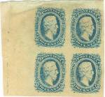 1863 Confederate postage stamps. Scott #11. Corner block of four 10 cents, Confederate States of America, postage stamps with bust of President Jefferson Davis. Printed by Archer & Daly, Richmond, Va. Large portion of the blank sheet is visible to the left of the stamps. Light corner and edge wear but in unused condition.