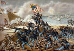 """Multi-color lithograph done by Kurz & Allison, 76-78 Wabash Ave., Chicago, Illinois. Copyright 1890. Titled, """"Storming Fort Wagner."""" Overall size is approximately 24 x 18, with title, publisher info and pertinent battle facts printed below the print. This is a reprint of the original Kurz & Allison 1890 edition done on heavy paper stock with vivid colors. There are wide 1 plus inch white borders on all sides. Circa 1960. It is my understanding that these were printed around the time of the Civil War Centennial celebrations using the original plates to print these. There were other reprints done much later (1979) of these Kurz & Allison Civil War battle scenes which are much smaller in size (about 12 x 15). Very fine battle scene lithograph featuring the gallant charge of the 54th Massachusetts Colored Infantry Regiment led by Colonel Robert Gould Shaw, July 18, 1863. Fort Wagner was a Confederate sea bastion in Charleston Harbor, South Carolina. Colonel Shaw, a prominent Bostonian, can be seen receiving his fatal bullet wound at the center of the illustration with his sword upraised over his head. Shaw would later be haphazardly thrown into a large sandy burial pit along with deceased members of his gallant 54th Massachusetts regiment.  Anything related to the historic 54th Massachusetts Colored Infantry is extremely desirable. This would look great framed."""