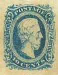 Scott #11. 10 cents blue, Confederate States of America, with bust of C.S.A. President Jefferson Davis. Printed by Archer & Daly, Richmond, Va. Unused condition.