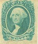 Scott #13, green. Features a full face portrait of Revolutionary War General-in-Chief, and 1st U.S. President George Washington. These stamps were printed by Archer & Daly, in Richmond, Va., and their earliest known use was on June 1, 1863. Very fine.