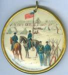 1 3/4 x 1 3/4, two sided, full color, celluloid button, manufactured by Whitehead & Hoag Co., Newark, N.J. One side has a Union camp scene with officers on horseback, soldiers standing at right with stacked muskets at their side, large flag pole with an American flag flying at the center, and several tents and soldiers in the background. Imprint at the bottom, Whitehead & Hoag Co., Newark, N.J. The opposite side has the New Jersey State Seal with riband below and the motto, Liberty And Prosperity. Imprint at the bottom, Whitehead & Hoag Co., Newark, N.J. Fastening hook at the top. Circa late 1800's. New Jersey Civil War related items are always in high demand. Very nice condition. 