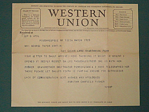 TELEGRAM BY DOROTHY CANFIELD FISHER, MONTESSORI (Image1)