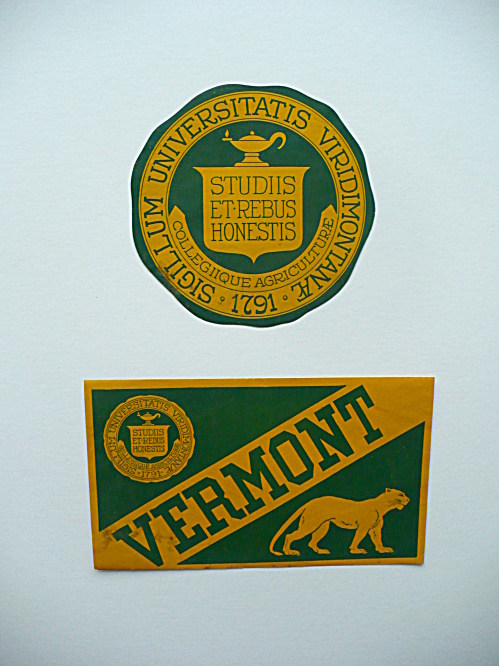 TWO 1930'S-40'S UNIVERSITY OF VERMONT COLLEGE AGRICULTURE UNUSED STICKER DECALS (Image1)
