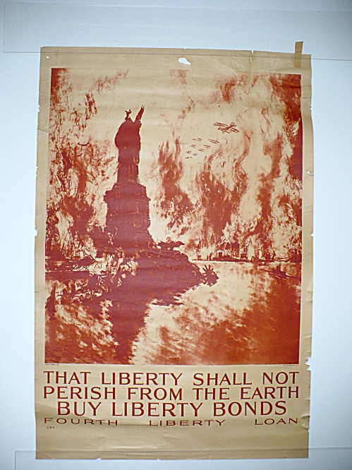 ORIGINAL 1918 LIBERTY SHALL NOT PERISH JOSEPH PENNELL WORLD WAR I POSTER, WWI   (Image1)