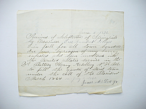 1872 NEW HAMPSHIRE CIVIL WAR HEAVY ARTILLERY SOLDIER BOUNTY FULFILLMENT NOTICE (Image1)