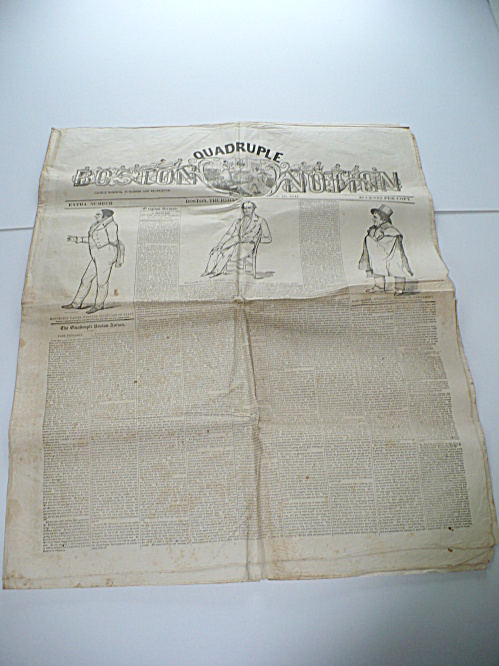 HUGE 1841 BOSTON MASS. QUADRUPLE NOTION NEWSPAPER, DANIEL WEBSTER, CULLEN BRYANT (Image1)