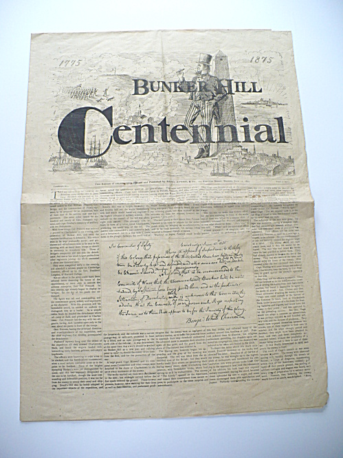 RARE 1875 BUNKER HILL CENTENNIAL NEWSPAPER PUBLICATION BY RAND, AVERY OF BOSTON  (Image1)