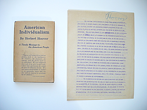 RARE HERBERT HOOVER FIRST EDITION AMERICAN INDIVIDUALISM BOOK AND MANUSCRIPT (Image1)
