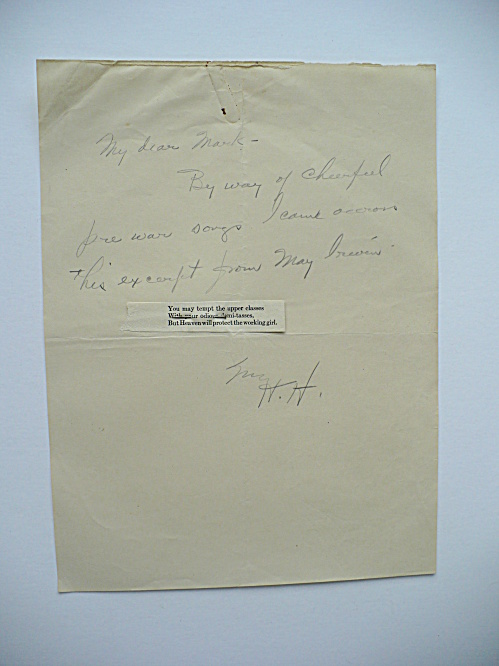 RARE HERBERT HOOVER HAND-WRITTEN LETTER NOTE WITH PINNED SONG VERSE (Image1)