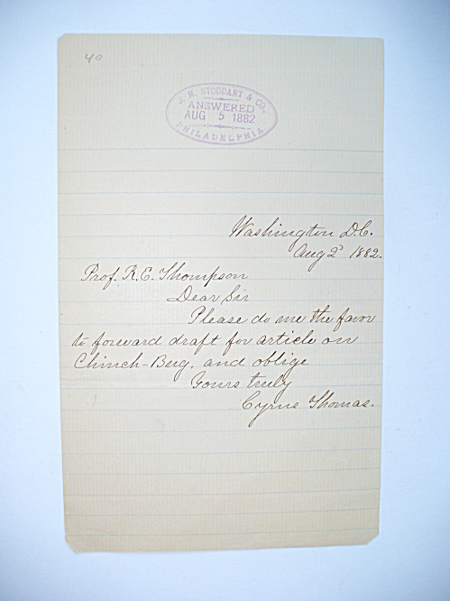 RARE 1882 CYRUS THOMAS PROMINENT ENTOMOLOGIST AUTOGRAPHED LETTER CHINCH BUG (Image1)