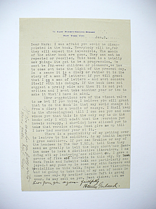 HAMLIN GARLAND AMERICAN WRITER AUTOGRAPHED LETTER DISCUSSING UPCOMING BOOK (Image1)