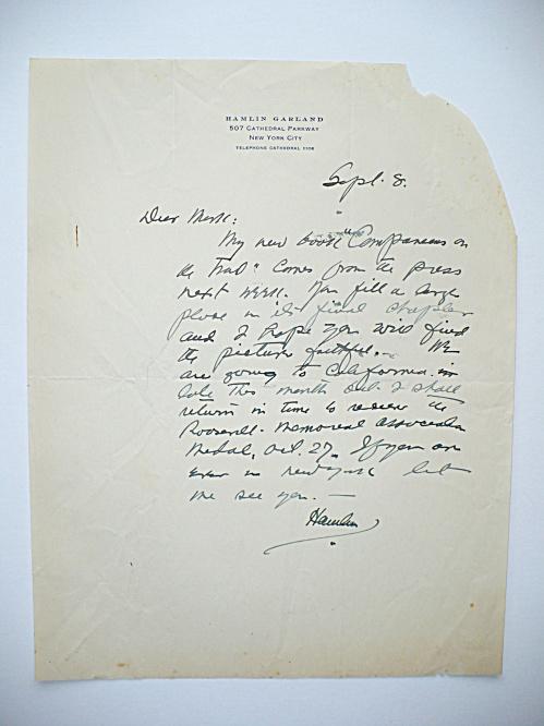 1931 HAMLIN GARLAND AMERICAN WRITER AUTOGRAPHED LETTER, BOOK PUBLICATION, MEDAL (Image1)