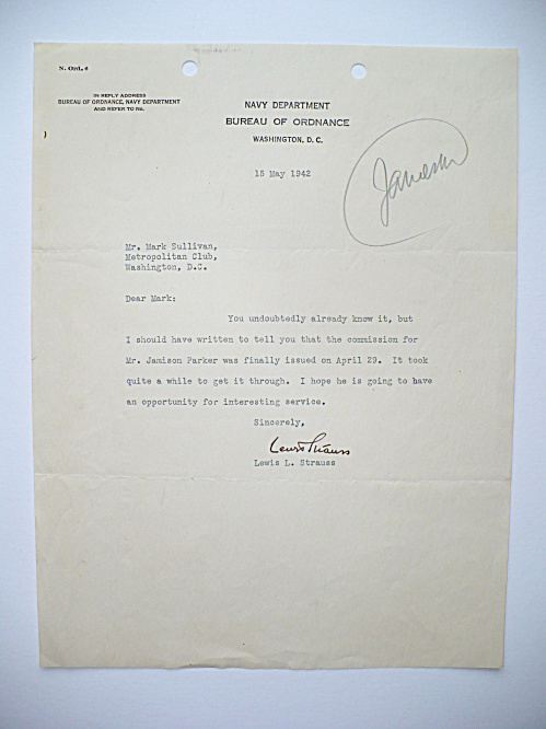 1942 LEWIS STRAUSS ATOMIC ENERGY COMMISSION POLITICIAN AUTOGRAPHED LETTER (Image1)